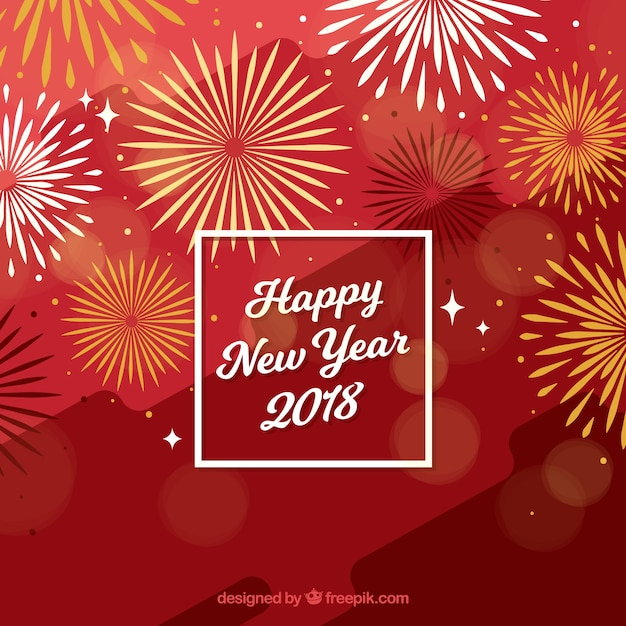 flat red new year background with fireworks free vector