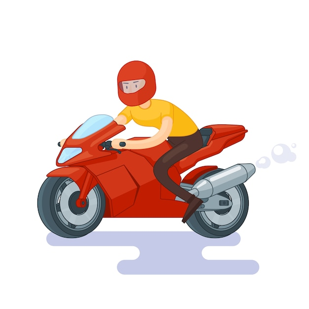 Flat red sport bike concept Free Vector