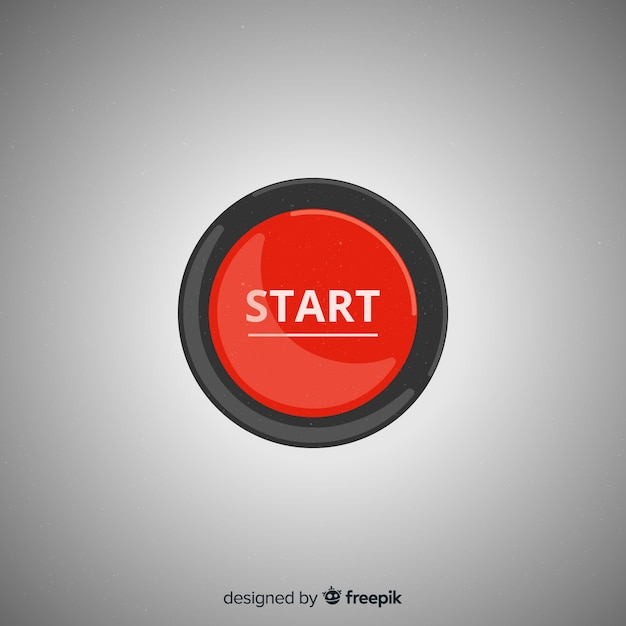 Flat red start button Free Vector