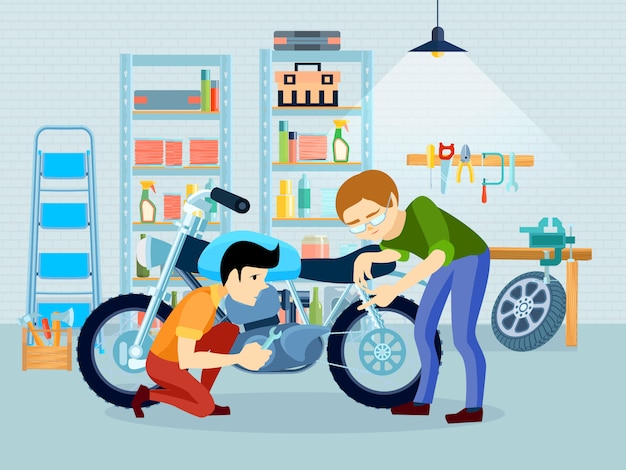 Flat repair motorcycle composition with father biker and his son in garage Free Vector