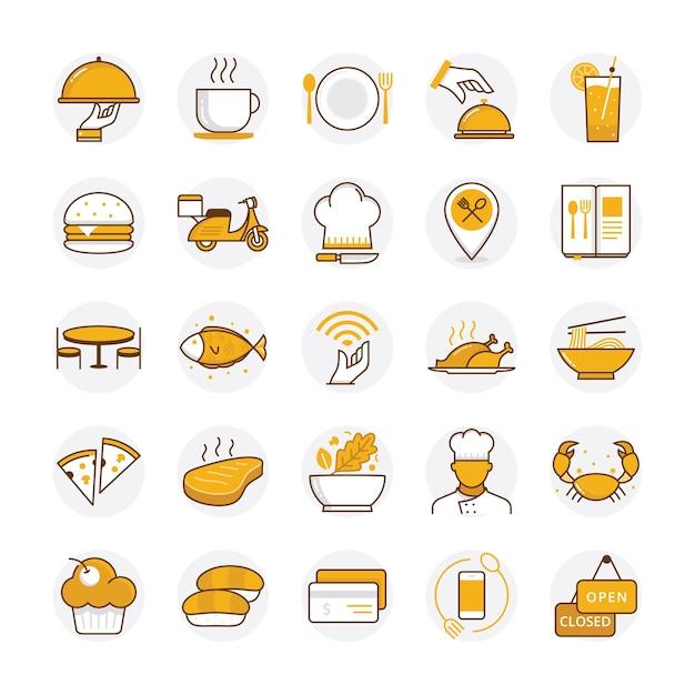 Плоский ресторан и еда иконки Premium векторы