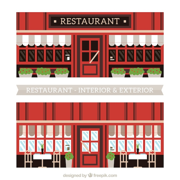 Flat restaurant interior illustration vector premium