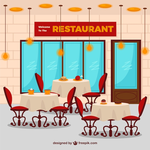 Flat restaurant interior vector free download
