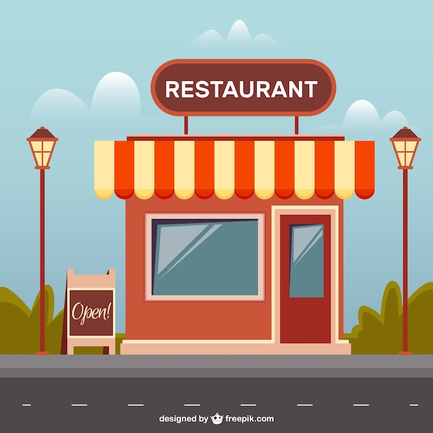 Flat Restaurant With Lampposts Vector Free Download