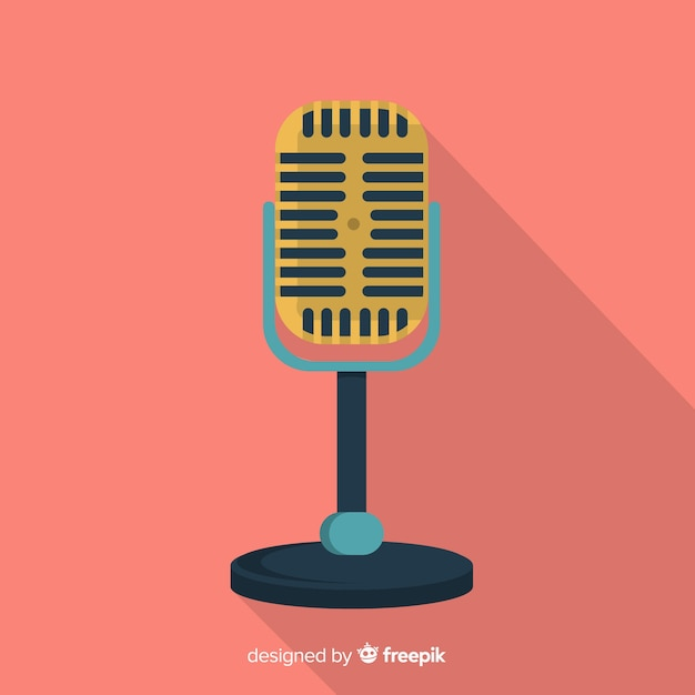Flat retro microphone background Free Vector