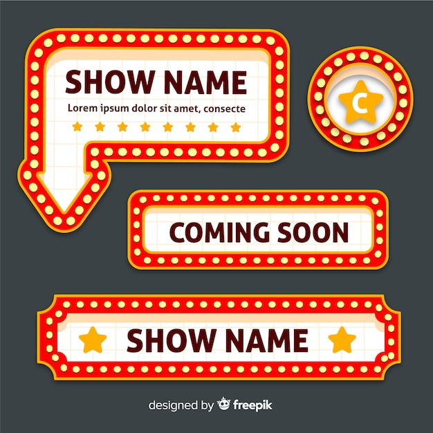 Flat retro theater sign set Free Vector