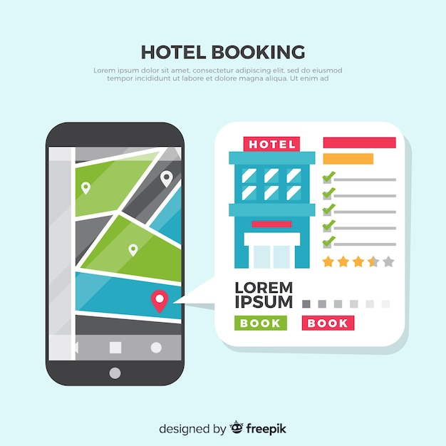 Flat review hotel booking background Free Vector