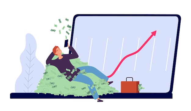 Flat rich businessman character with money and laptop Premium Vector