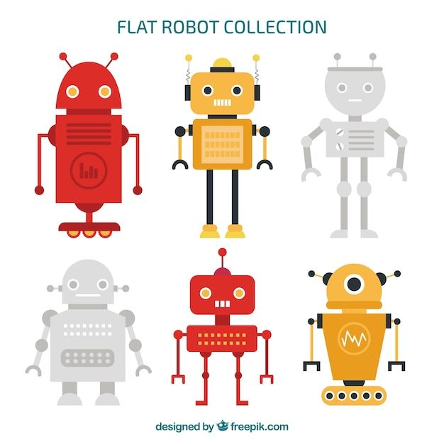 Flat robot character collection Free Vector