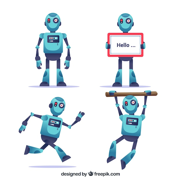 Flat robot character with different poses collection Free Vector