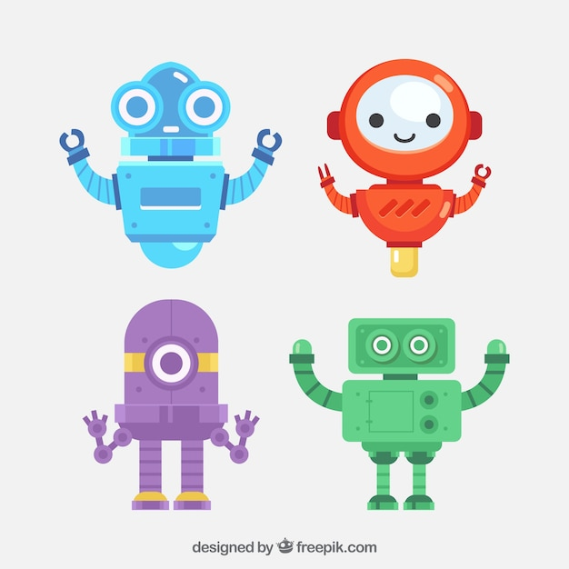 Flat robot collection with different poses Free Vector