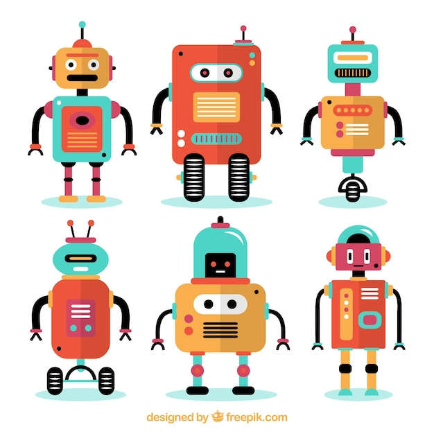 Flat robots collection Free Vector