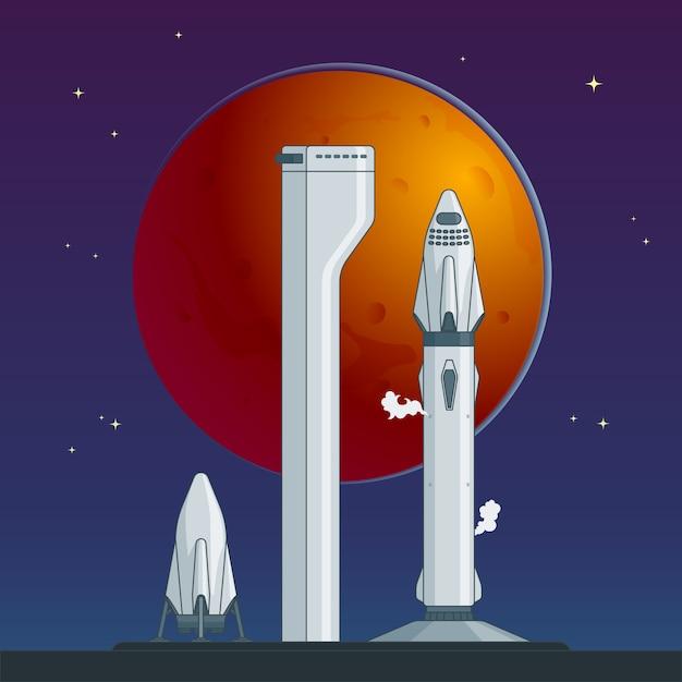 フラットロケットと宇宙船のコンセプト 無料ベクター