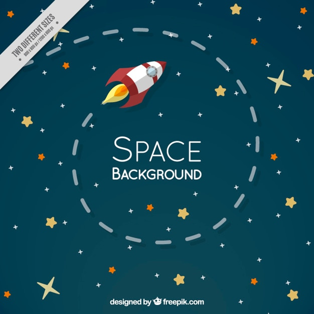 Flat rocket in the space with stars\ background