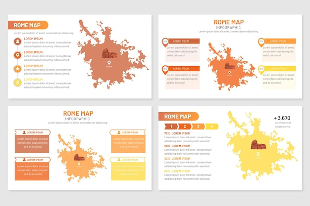 Informazioni mappa flat roma Vettore gratuito