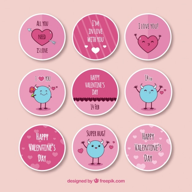 Flat round stickers for valentines day free vector