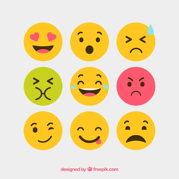 Flat and round vector emotion icons Free Vector