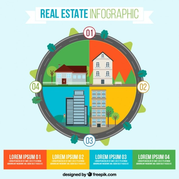 flat rounded real estate infographic vector premium download
