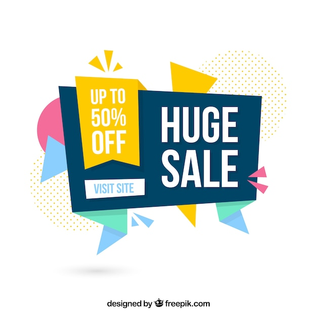 Flat sale background in origami style Free Vector
