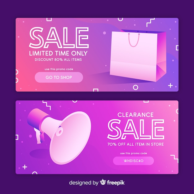 Flat sale banner with realistic objects Free Vector