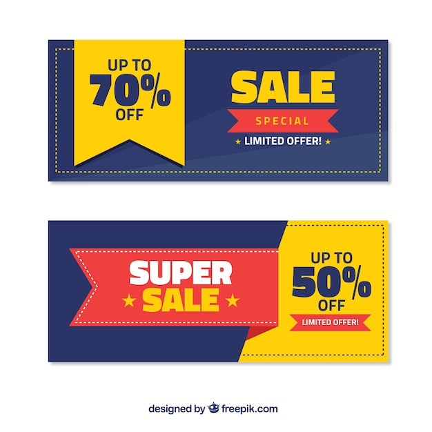 Flat sale banners with yellow details Free Vector