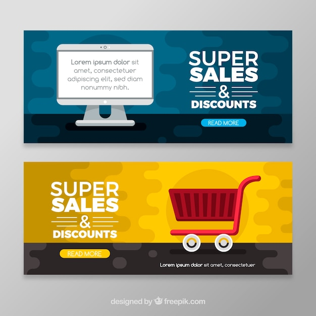 Flat sale banners Free Vector