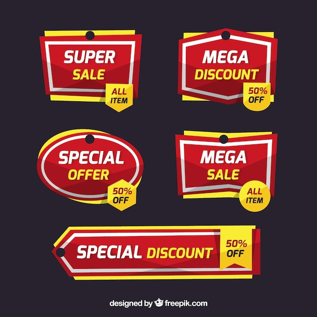 Flat sale label/badge collection Free Vector