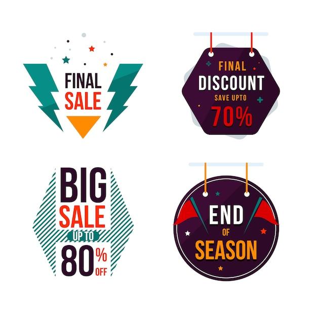 Flat sale label design. Premium Vector