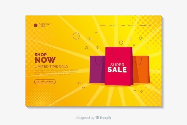 Flat sale landing page template Premium Vector
