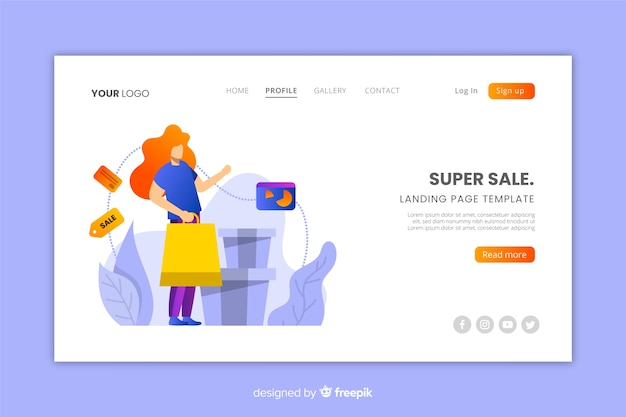 Flat sale landing page template Free Vector