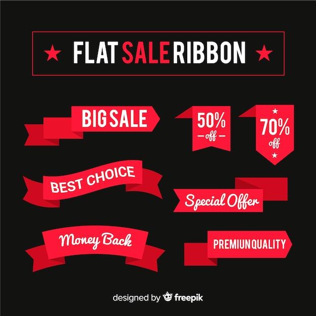 Flat sale ribbon set Free Vector
