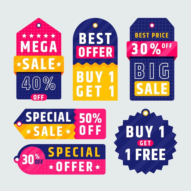 Flat sale tag collection Free Vector