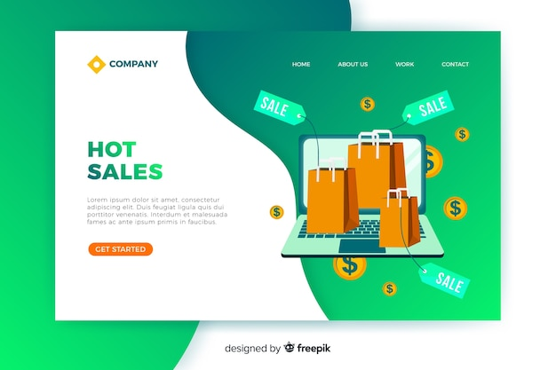Flat sales landing page template Free Vector