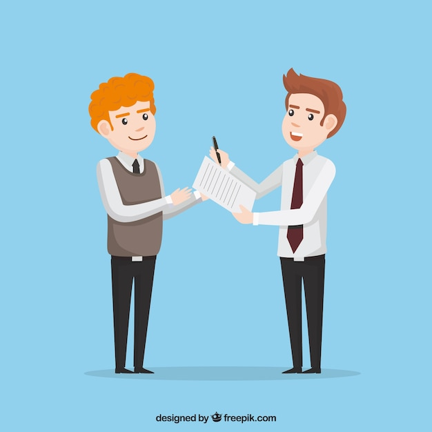 Flat salesman character holding contract document Free Vector