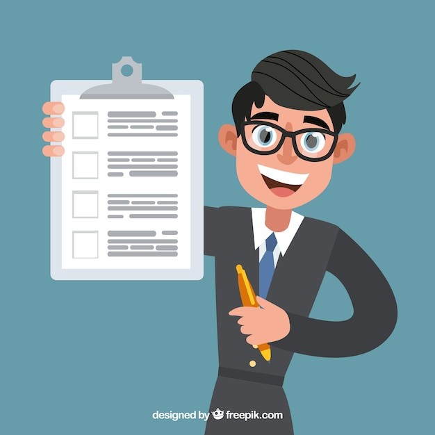 Flat salesman with contract document Free Vector