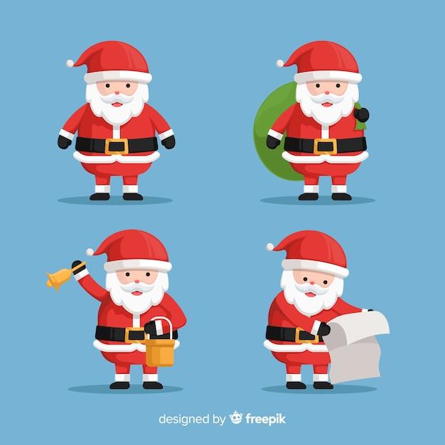 Flat santa claus character collection Free Vector