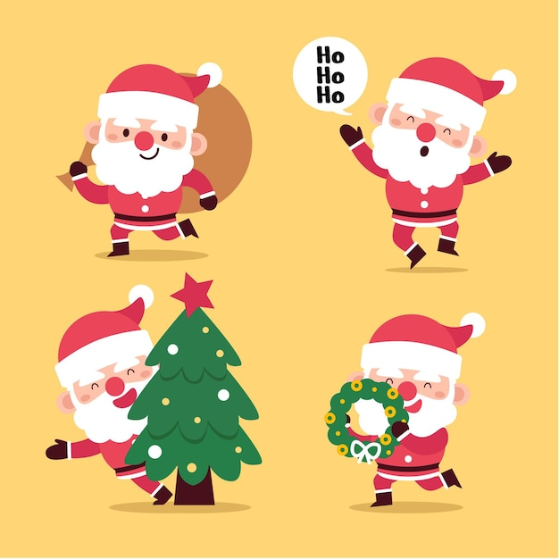 Flat santa claus character collection Free Vector