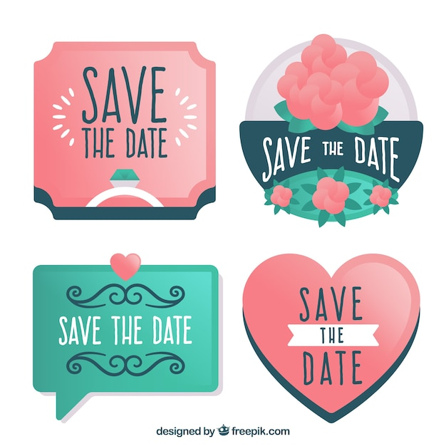 flat save the date label badge collection vector free download