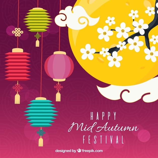 Flat scene, mid autumn festival