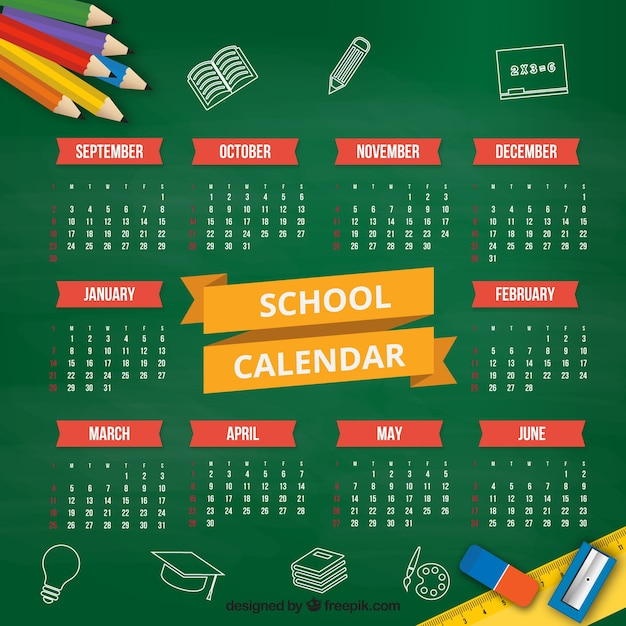 Flat school calendar on the blackboard