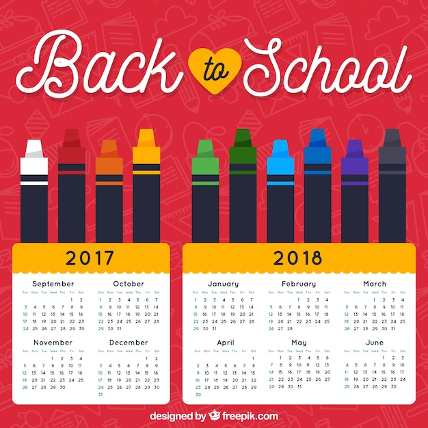 Flat school calendar with crayons