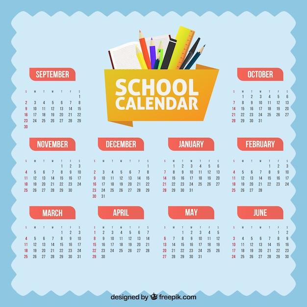 Flat school calendar with materials
