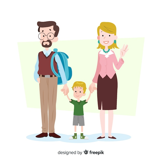 Flat school children with parents Free Vector