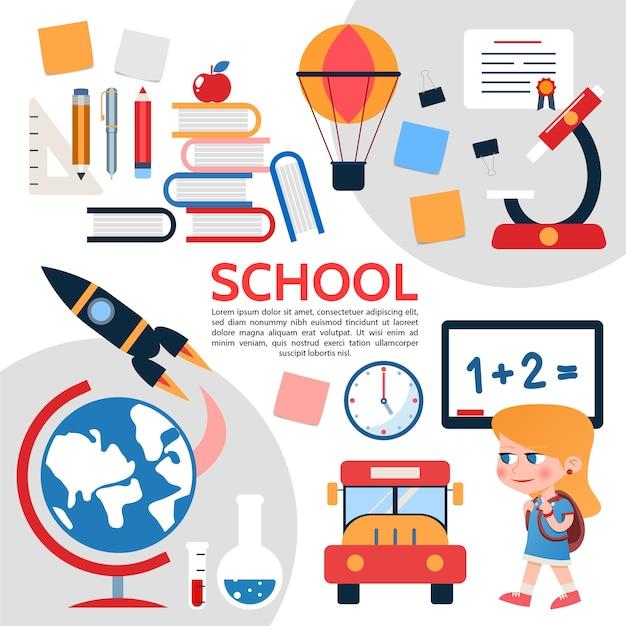 Плоский состав школьных элементов Бесплатные векторы