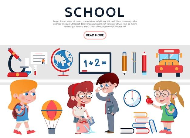 フラットな学校の要素セット 無料ベクター