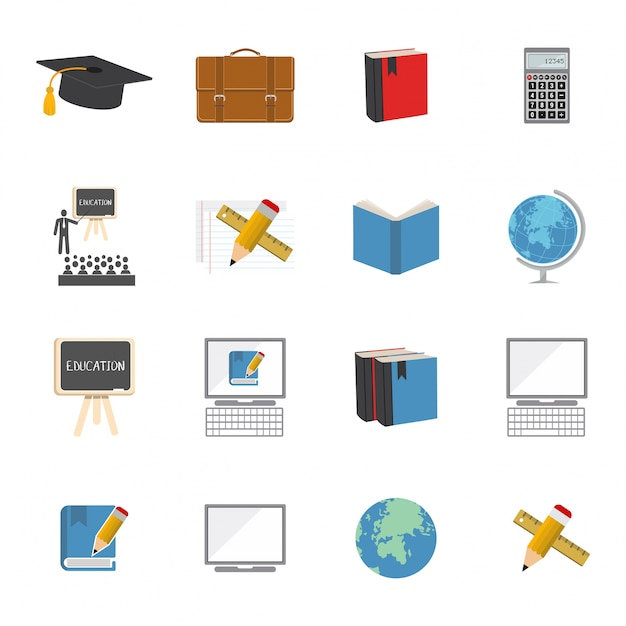Flat school icons Free Vector