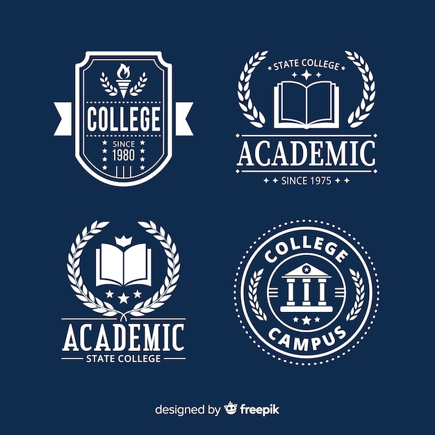 Flat school logo template collection Free Vector