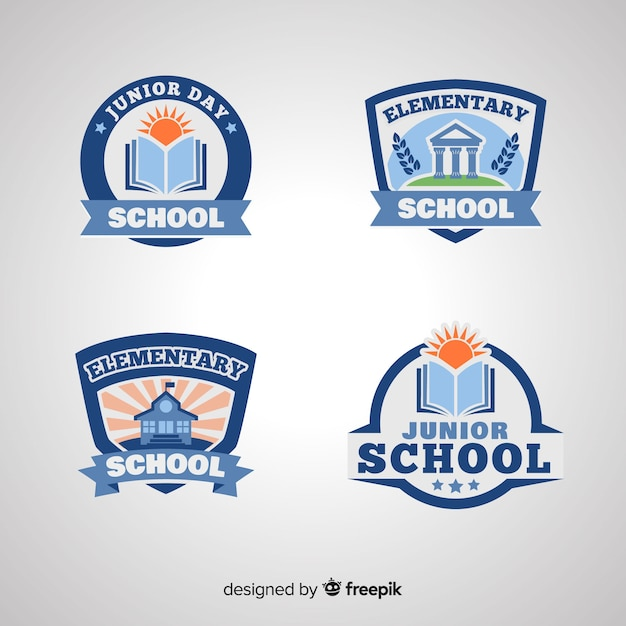 Flat school logo template collection Premium Vector