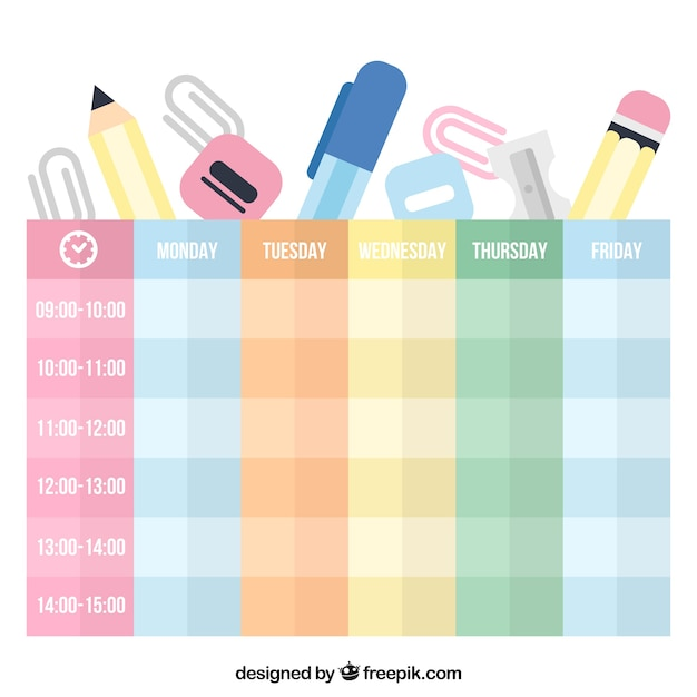 Flat school materials and colorful timetabe