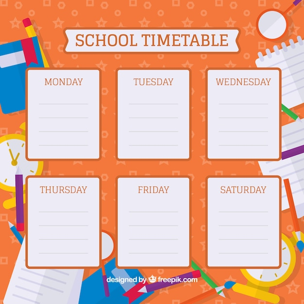 Flat school materials and colorful timetableº